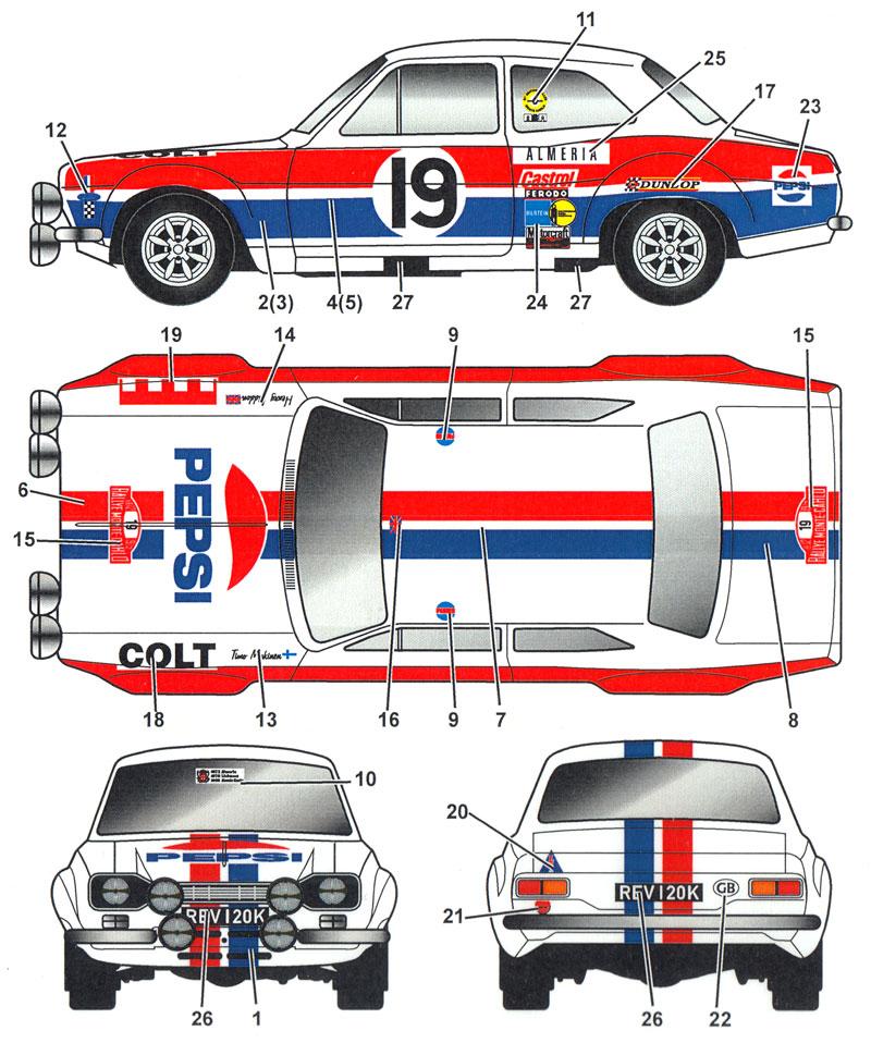 フォード エスコート Mk.1 ティモ・マキネン #19 モンテカルロ 1972デカール(スタジオ27ラリーカー オリジナルデカールNo.DC1172)商品画像_1