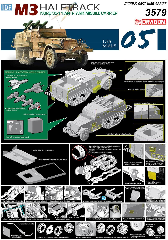 IDF M3ハーフトラック ノール SS-11 対戦車ミサイルキャリアプラモデル(ドラゴン1/35 MIDDLE EAST WAR SERIESNo.3579)商品画像_4
