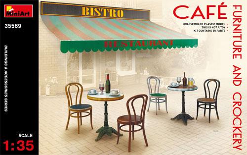 カフェ 家具と食器プラモデル(ミニアート1/35 ビルディング&アクセサリー シリーズNo.35569)商品画像