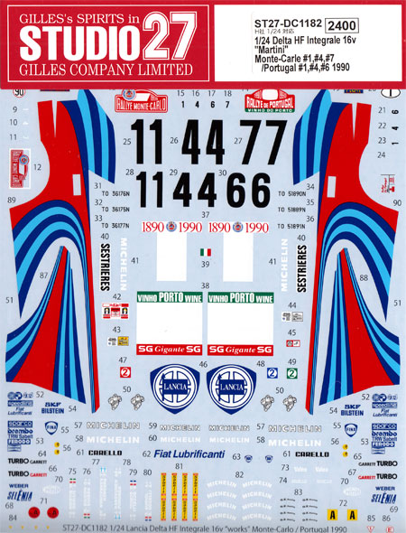 ランチア デルタ HF インテグラーレ 16v マルティーニ モンテカルロ #1、#4、#7 / ポルトガル #1、#4、#6 1990デカール(スタジオ27ラリーカー オリジナルデカールNo.DC1182)商品画像