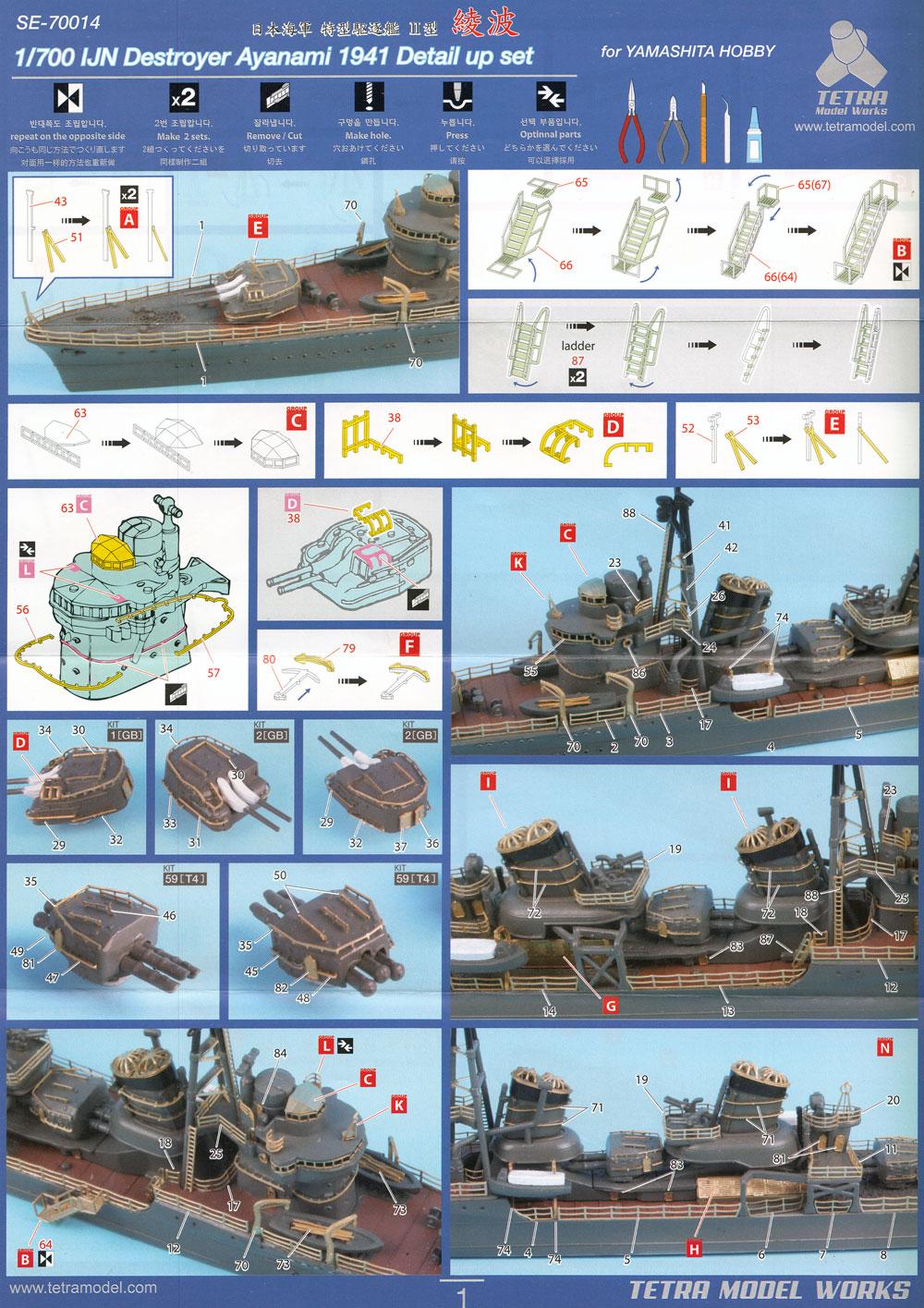 日本海軍 駆逐艦 綾波 1941 ディテールアップセット (ヤマシタホビー用)エッチング(テトラモデルワークス艦船 エッチングパーツNo.SE-70014)商品画像_2