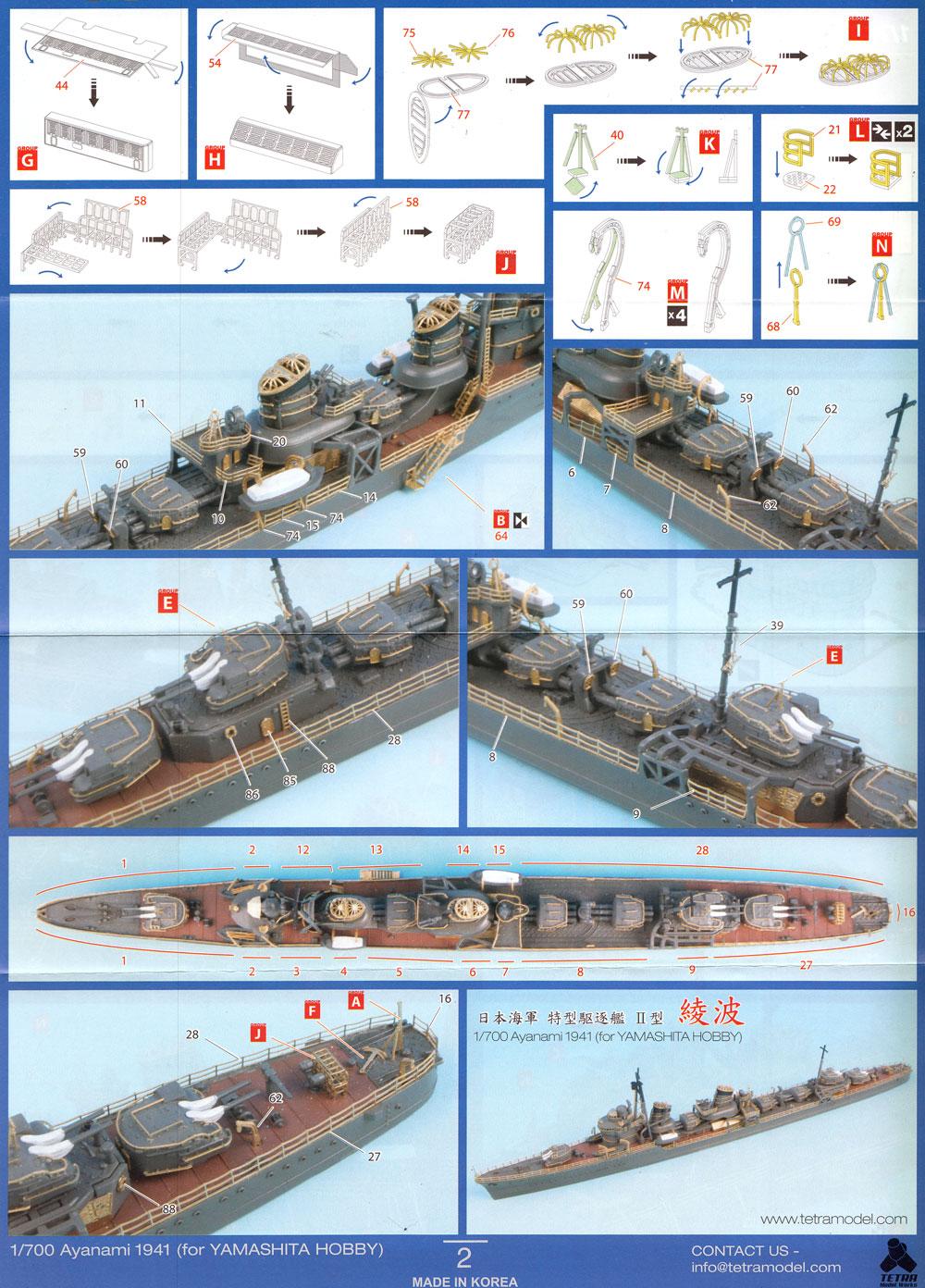 日本海軍 駆逐艦 綾波 1941 ディテールアップセット (ヤマシタホビー用)エッチング(テトラモデルワークス艦船 エッチングパーツNo.SE-70014)商品画像_3