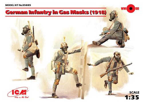 ドイツ歩兵 ガスマスク装備 (1918)プラモデル(ICM1/35 ミリタリービークル・フィギュアNo.35695)商品画像
