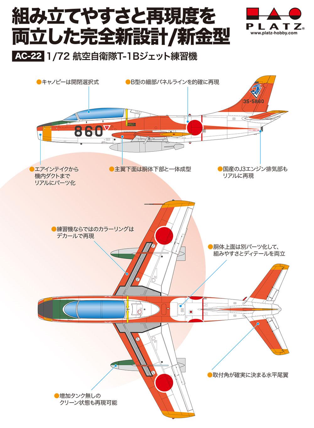航空自衛隊 T-1B ジェット練習機プラモデル(プラッツ航空自衛隊機シリーズNo.AC-022)商品画像_1