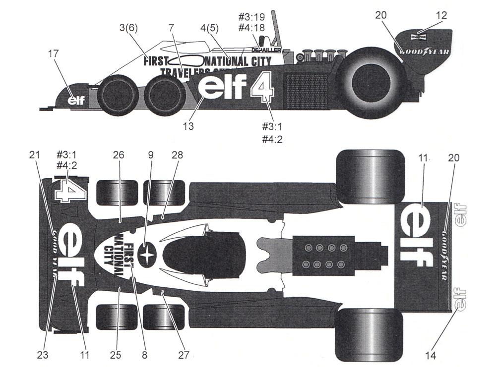 ティレル P34 ファースト ナショナル 1977 デカールデカール(タブデザイン1/12 デカールNo.TABU-12037D)商品画像_2