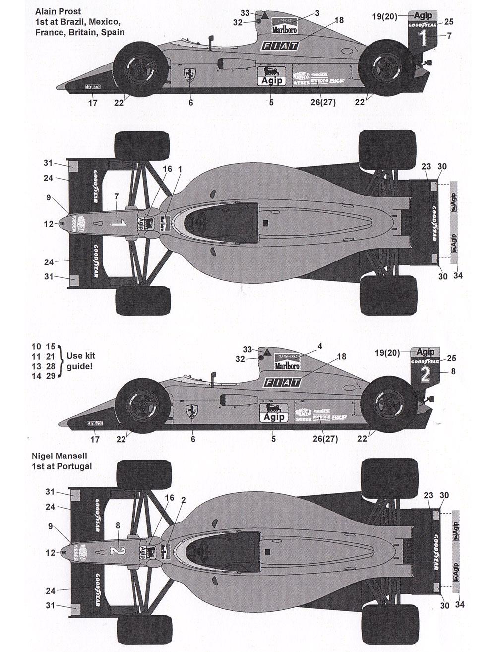 フェラーリ 641/2 フルスポンサーデカールデカール(タブデザイン1/12 デカールNo.TABU-12056)商品画像_2
