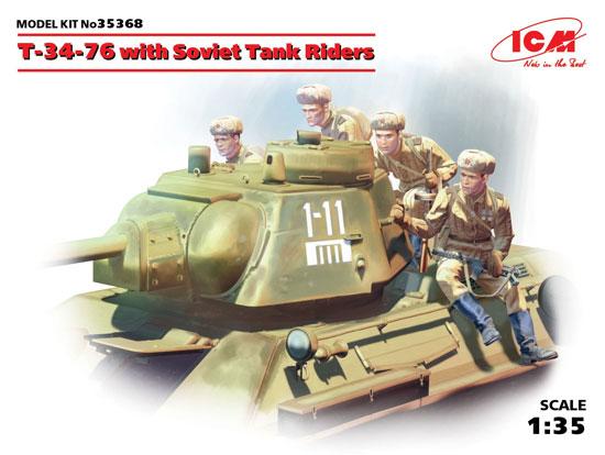 ソビエト T-34/76 w/戦車搭乗兵プラモデル(ICM1/35 ミリタリービークル・フィギュアNo.35368)商品画像