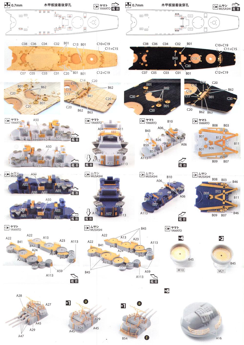 戦艦 大和型 エッチングパーツセットエッチング(アオシマ1/700 フルハルモデル ディテールアップパーツNo.052655)商品画像_3