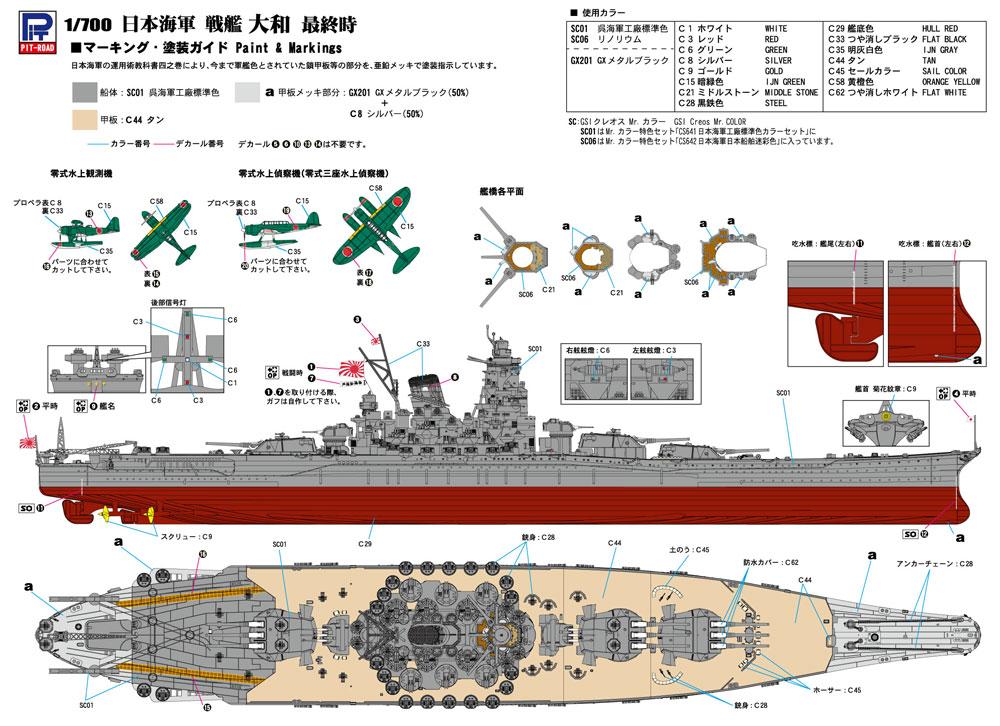 日本海軍 戦艦 大和 最終時プラモデル(ピットロード1/700 スカイウェーブ W シリーズNo.W200)商品画像_1
