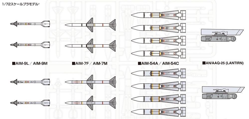 現用アメリカ軍 航空機用 ミサイルセットプラモデル(ファインモールド1/72 航空機No.FP031)商品画像_1