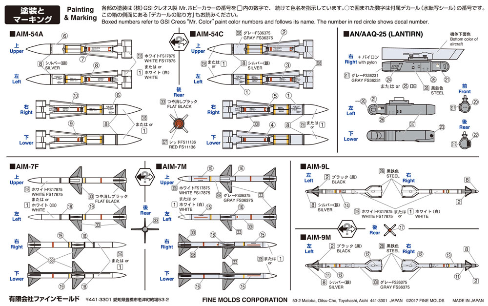 現用アメリカ軍 航空機用 ミサイルセットプラモデル(ファインモールド1/72 航空機No.FP031)商品画像_2