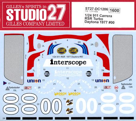 ポルシェ 911 カレラ RSR ターボ デイトナ 1977 #00 デカールデカール(スタジオ27ツーリングカー/GTカー オリジナルデカールNo.DC1206)商品画像