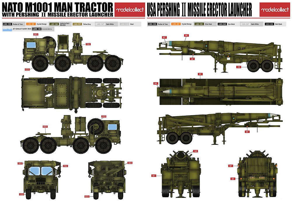 NATO M1001 トラクター w/パーシング2 ミサイル エレクターランチャープラモデル(モデルコレクト1/72 AFV キットNo.UA72084)商品画像_2