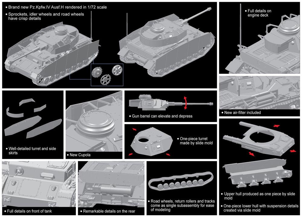 ドイツ 4号戦車 H型プラモデル(ドラゴン1/72 ARMOR PRO (アーマープロ)No.7551)商品画像_2