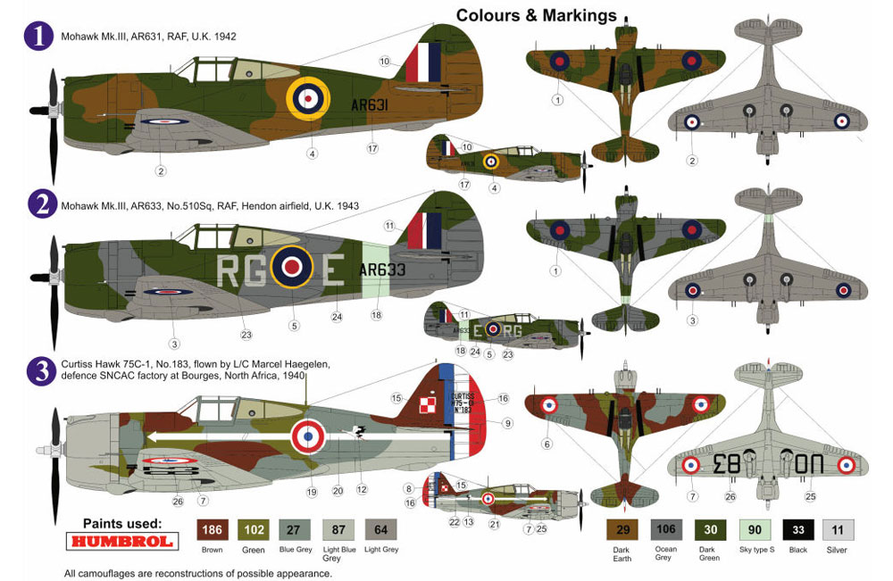 カーチス モホーク Mk.3/H-75C1 RAF/フランスプラモデル(AZ model1/72 エアクラフト プラモデルNo.AZ7572)商品画像_1