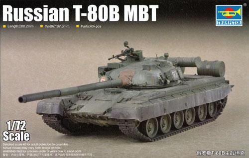 ロシア T-80B 主力戦車プラモデル(トランペッター1/72 AFVシリーズNo.07144)商品画像
