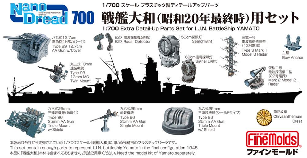 戦艦 大和 (昭和20年最終時)用セットプラモデル(ファインモールド1/700 ナノ・ドレッド シリーズNo.77921)商品画像_1