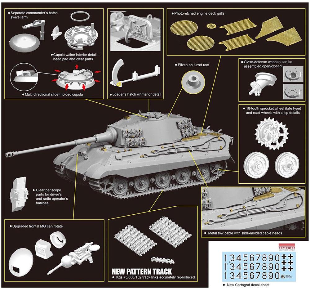 ドイツ キングタイガー 後期生産型 w/Kgs73/800/152履帯 第506重戦車大隊プラモデル(ドラゴン1/35 '39-'45 SeriesNo.6900)商品画像_2