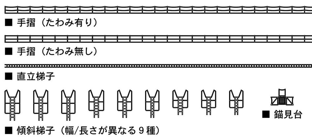 日本海軍 艦艇用 汎用エッチングパーツ A (手摺・梯子)エッチング(ハセガワ1/700 QG帯No.QG072)商品画像_2