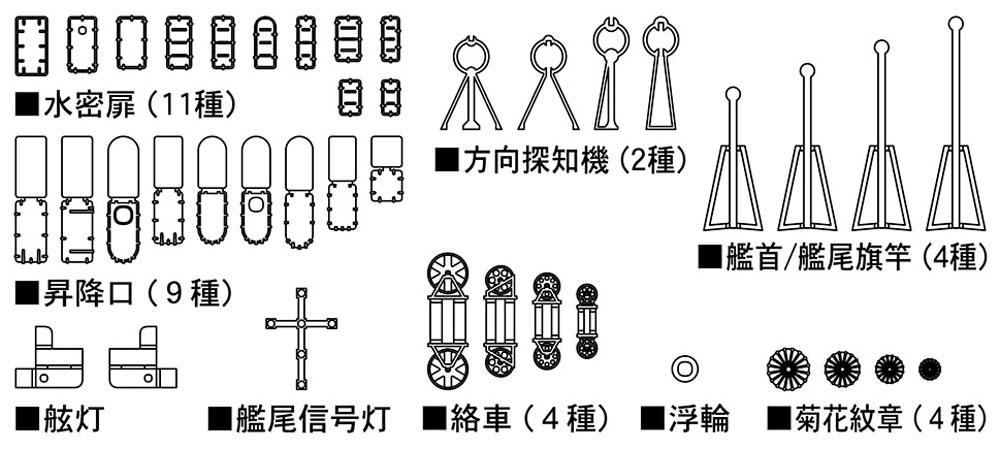 日本海軍 艦艇用 汎用エッチングパーツ B (水密扉・昇降口)エッチング(ハセガワ1/700 QG帯No.QG073)商品画像_2