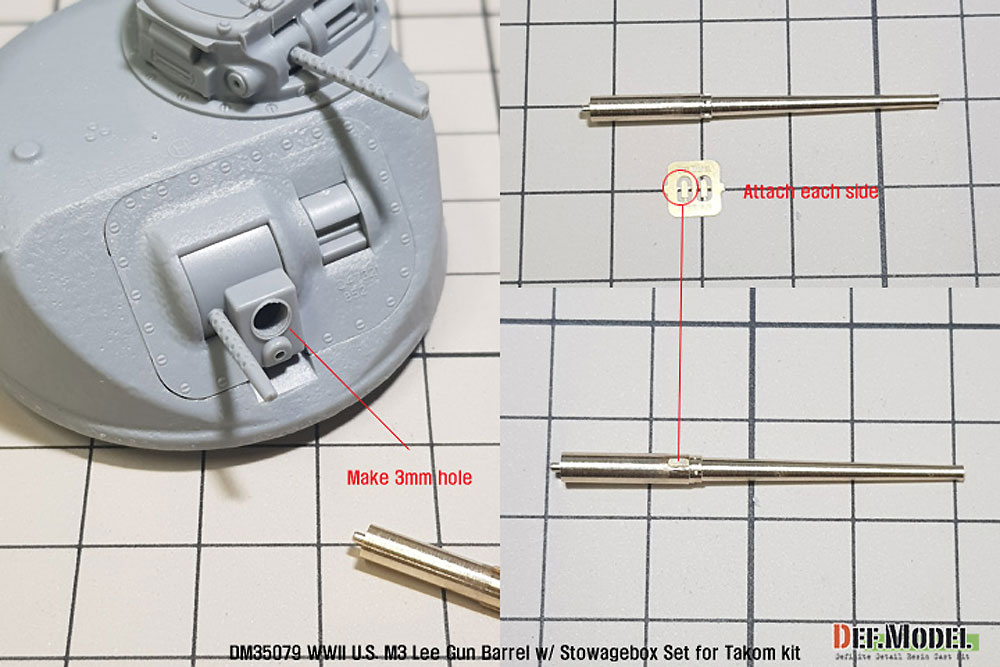 M3 リー 砲身 w/雑具箱メタル(DEF. MODELコンバージョン アンド アップデートセットNo.DM35079)商品画像_2