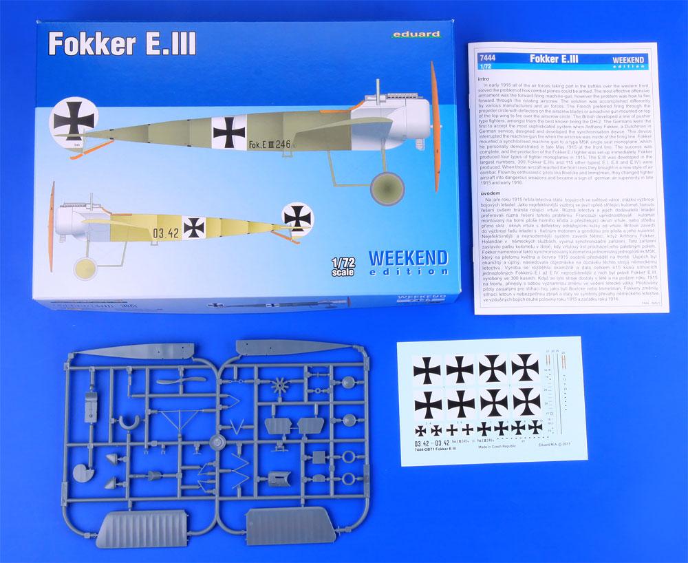 フォッカー E.3プラモデル(エデュアルド1/72 ウィークエンド エディションNo.7444)商品画像_1