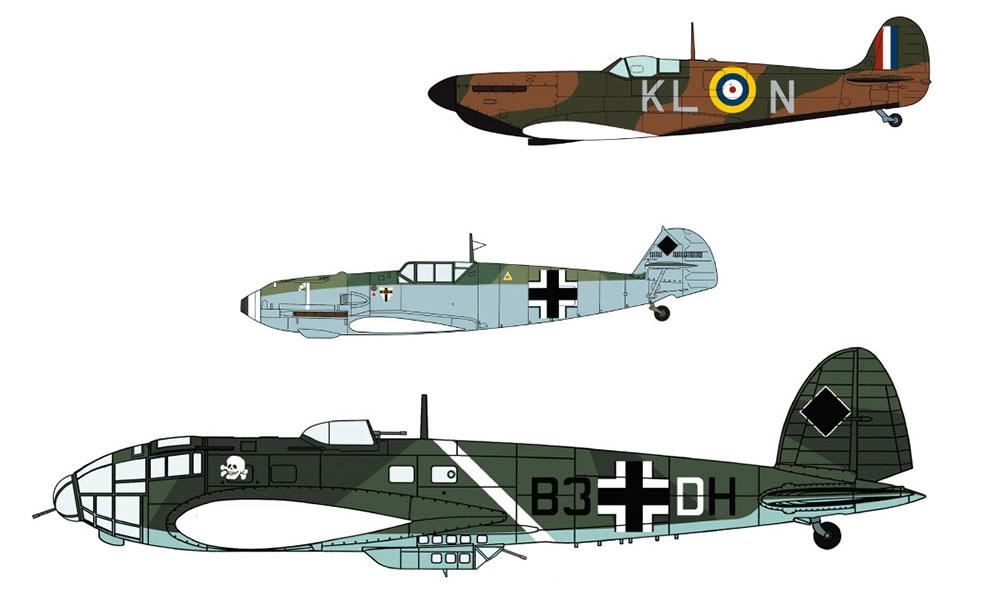 スピットファイア Mk.1 & Bf109E & He111P/H ダンケルク航空戦プラモデル(ハセガワ1/72 飛行機 限定生産No.02270)商品画像_3