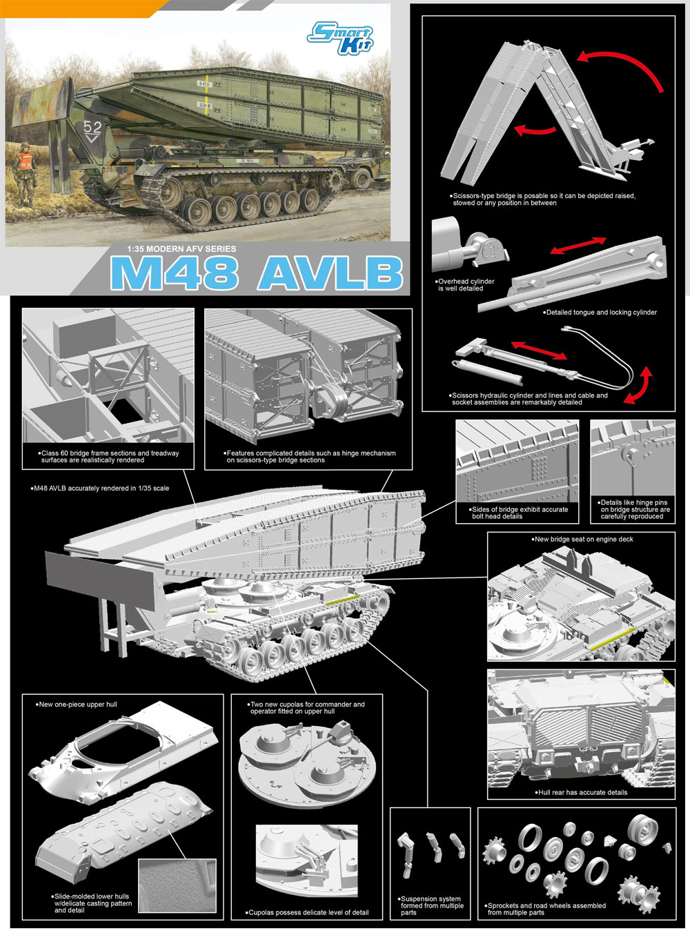 アメリカ M48 AVLB 架橋戦車プラモデル(ドラゴン1/35 Modern AFV SeriesNo.3606)商品画像_1