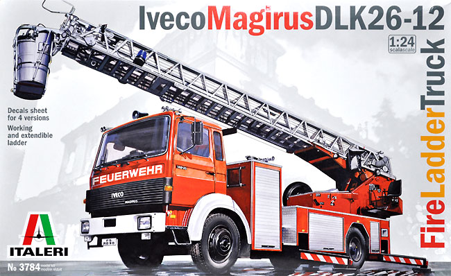 イヴェコ マギルス DLK26-12 はしご付消防車プラモデル(イタレリ1/24 トラックシリーズNo.3784)商品画像