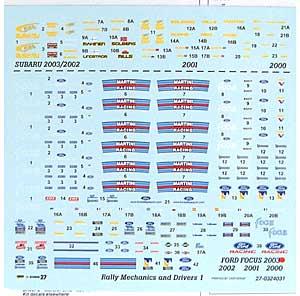 ラリー メカニックセット 1デカール(スタジオ27ラリーカー オリジナルデカールNo.DC665C)商品画像