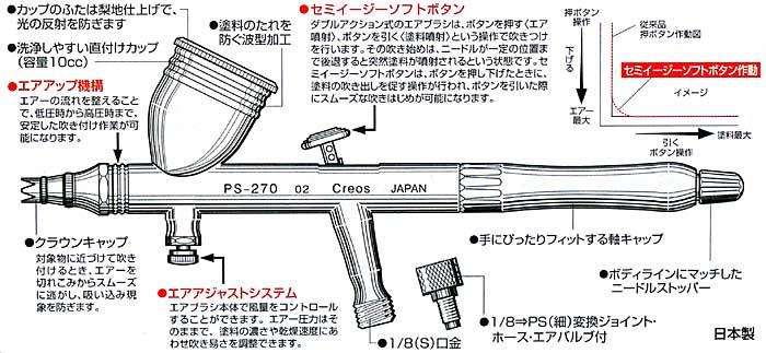 プロコンBOY WA ダブルアクション プラチナ 0.2 (0.2mm ドロップ式 ダブルアクション)ハンドピース(GSIクレオスMr.エアーブラシNo.PS-270)商品画像_1