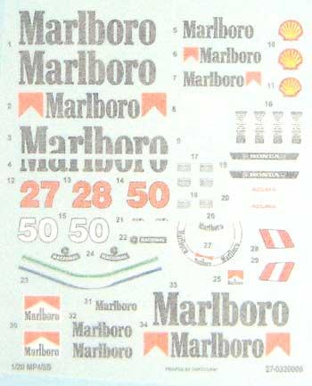 1/20 MP4/5B Malboroデカールセットデカール(スタジオ27F-1 オリジナルデカールNo.DC172C)商品画像