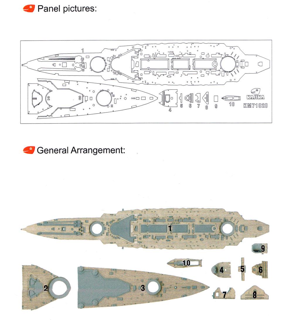 日本海軍 超弩級巡洋戦艦 榛名 1915年 木製甲板 (フライホークモデル用)甲板シート(カジカディテールアップパーツ シリーズNo.KM71020)商品画像_1