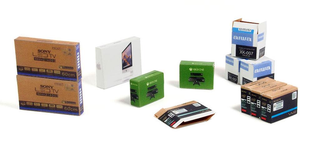 段ボール箱セット (電化製品)ペーパークラフト(マソモデルズペーパーアクセサリーNo.35065)商品画像_2