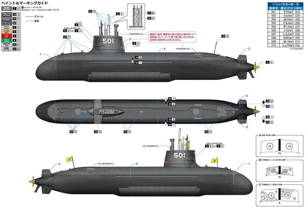 海上自衛隊 そうりゅう型潜水艦プラモデル(モノクローム1/144 潜水艦No.MCT108)商品画像_2