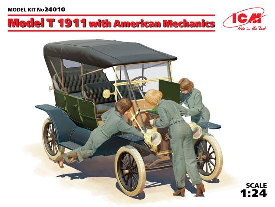 T型フォード 1911 w/アメリカ 女性整備士プラモデル(ICM1/24 カーモデルNo.24010)商品画像