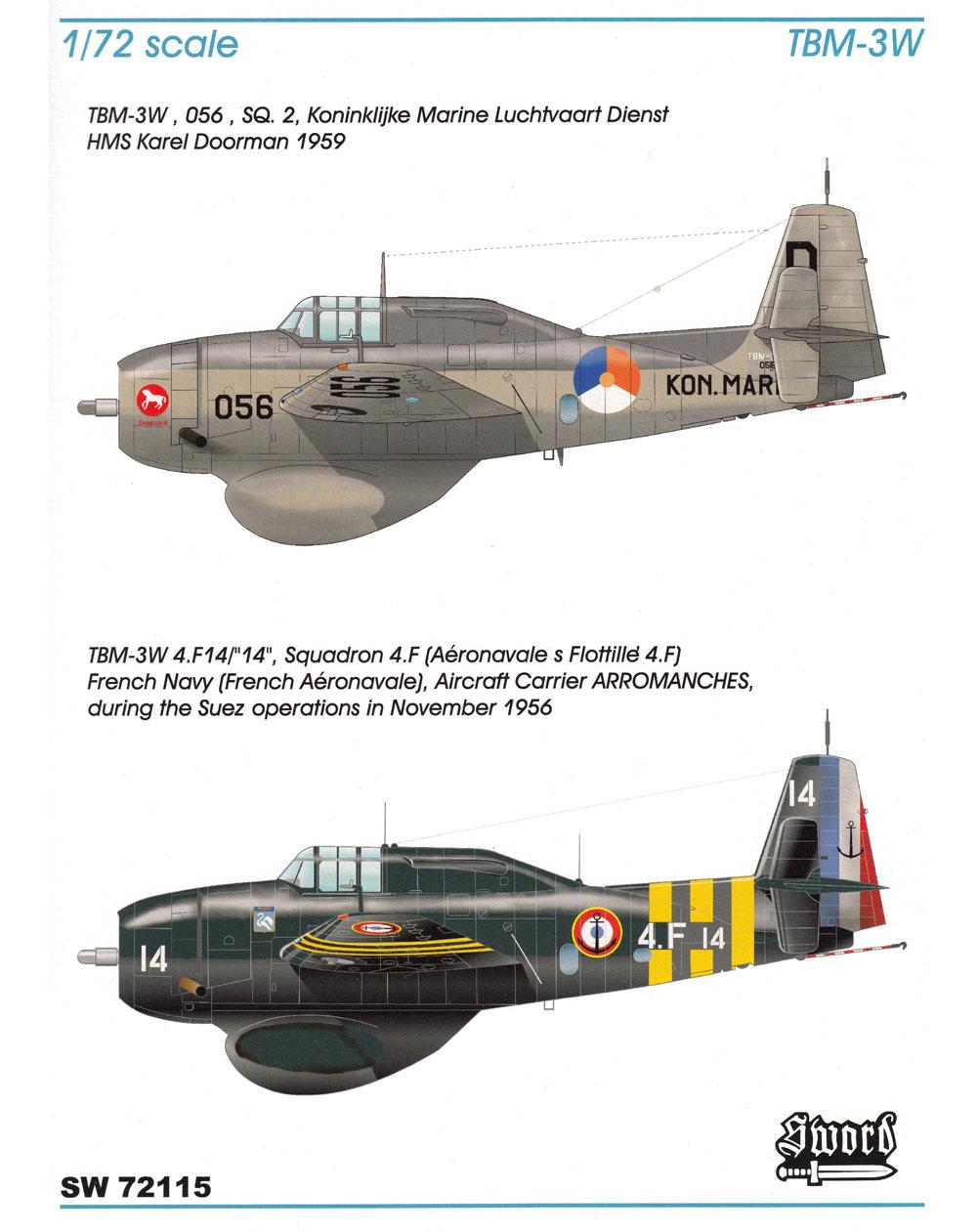 TBM-3W グッピー フランス海軍 オランダ海軍プラモデル(ソード1/72 エアクラフト プラモデルNo.72115)商品画像_1