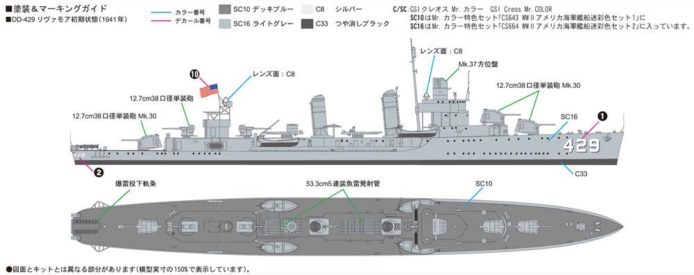アメリカ海軍 リヴァモア級駆逐艦 DE-429 リヴァモアプラモデル(ピットロード1/700 スカイウェーブ W シリーズNo.W211)商品画像_1