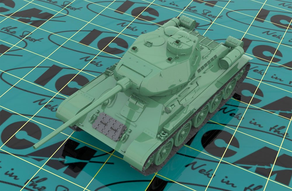 ソビエト T-34/85 w/戦車搭乗歩兵プラモデル(ICM1/35 ミリタリービークル・フィギュアNo.35369)商品画像_1