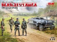 ICM1/35 ミリタリービークル・フィギュアドイツ Sd.Kfz.251/1 Ausf.A 装甲兵員輸送車 w/ドイツ歩兵