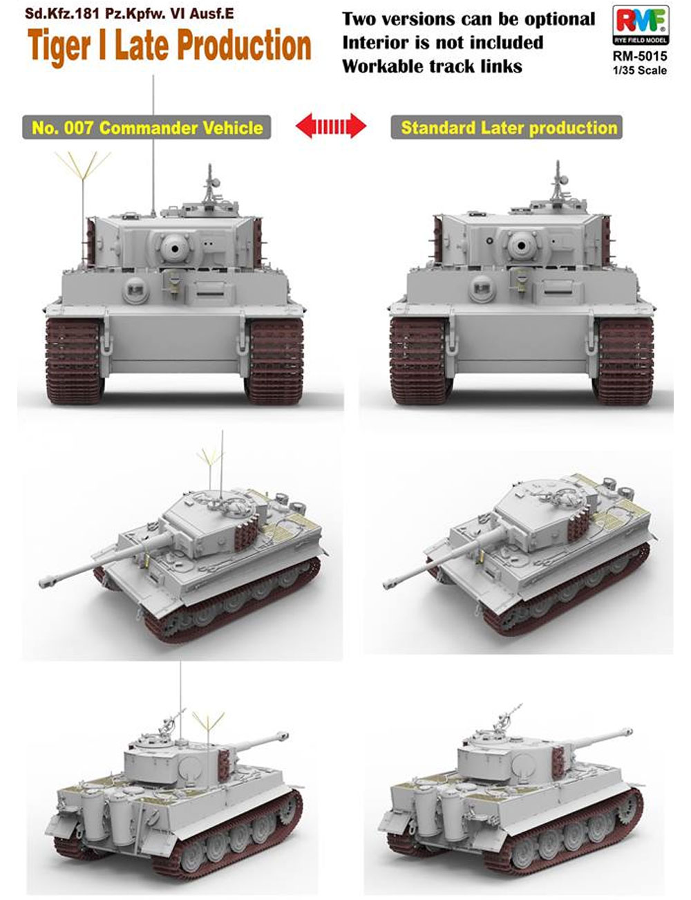 ドイツ 重戦車 Sd.Kfz.181 タイガー 1 後期型プラモデル(ライ フィールド モデル1/35 AFVNo.RM-5015)商品画像_2