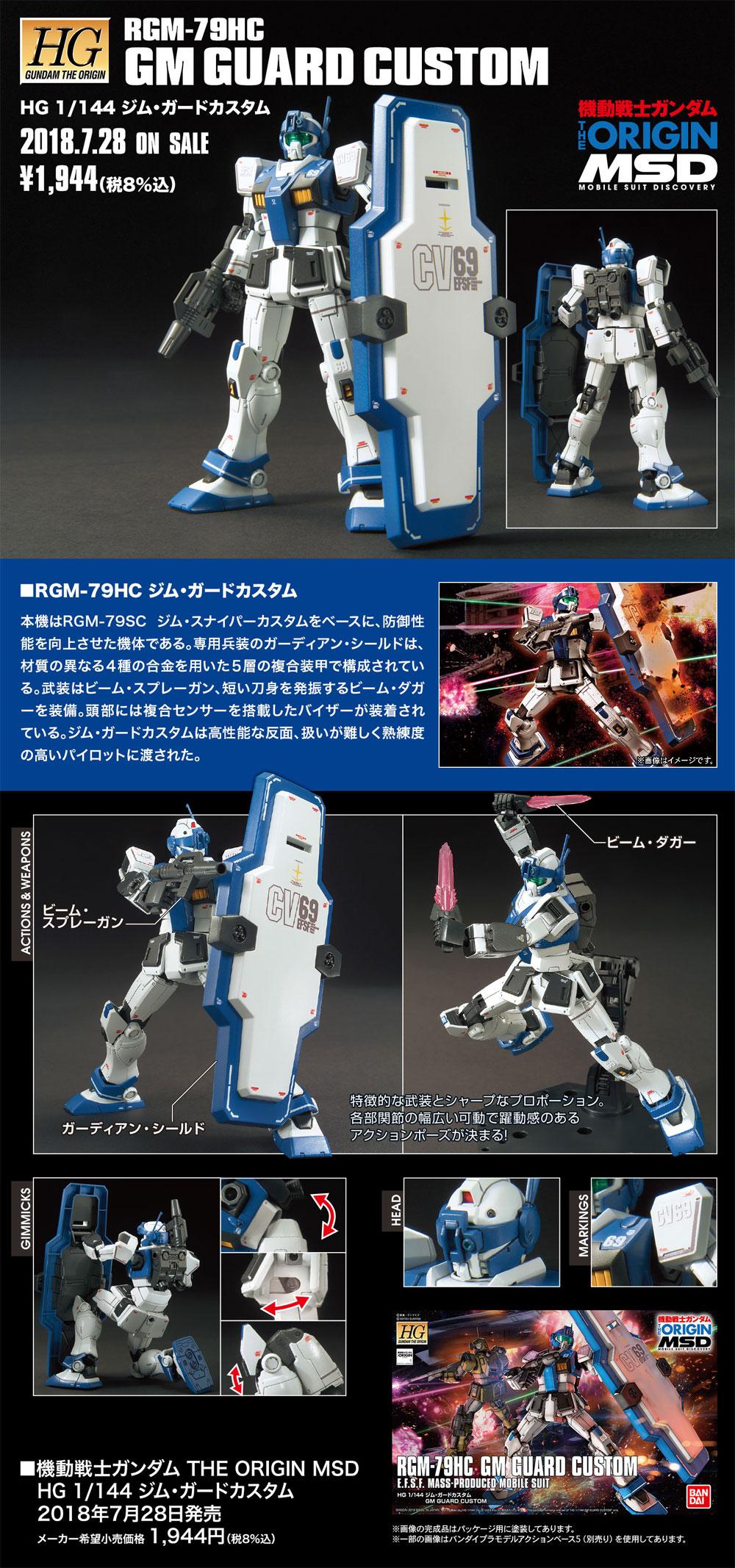 RGM-79HC ジム・ガードカスタムプラモデル(バンダイHG ジ・オリジンNo.022)商品画像_4