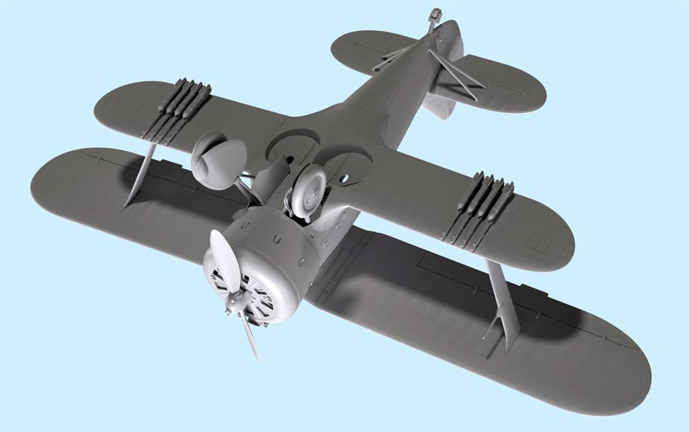ポリカルポフ I-153 チャイカプラモデル(ICM1/32 エアクラフトNo.32010)商品画像_4