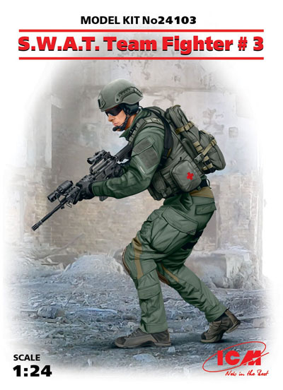 アメリカ S.W.A.T. 隊員 No.3プラモデル(ICM1/24 フィギュアNo.24103)商品画像
