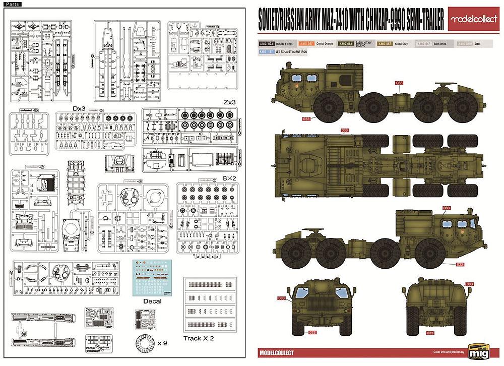 ソ連/ロシア陸軍 MAZ-7410 w/ChMZAP-9990 セミトレーラー & T-80BV MBT セットプラモデル(モデルコレクト1/72 AFV キットNo.UA72153)商品画像_1
