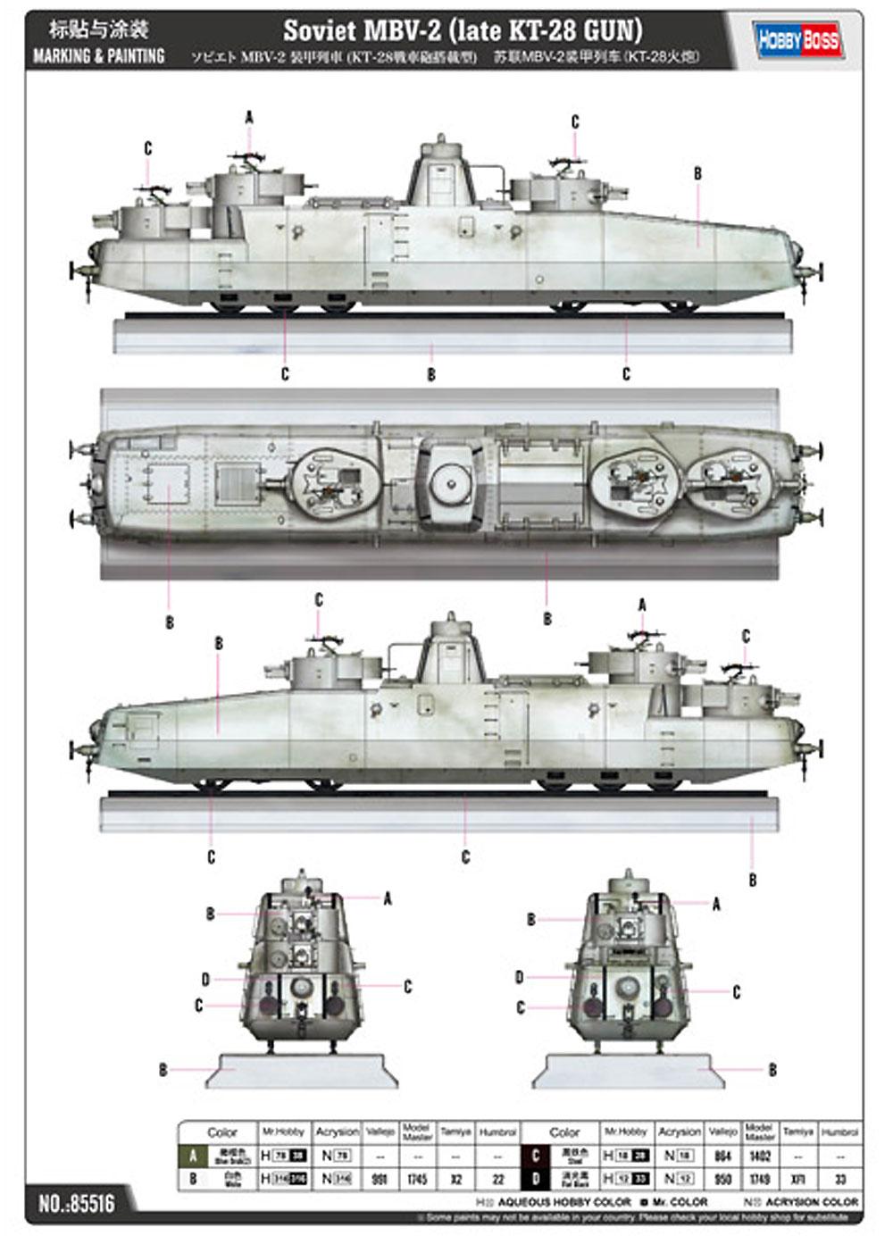ソビエト MBV-2 装甲列車 (KT-28 戦車砲搭載型)プラモデル(ホビーボス1/35 ファイティングビークル シリーズNo.85516)商品画像_1