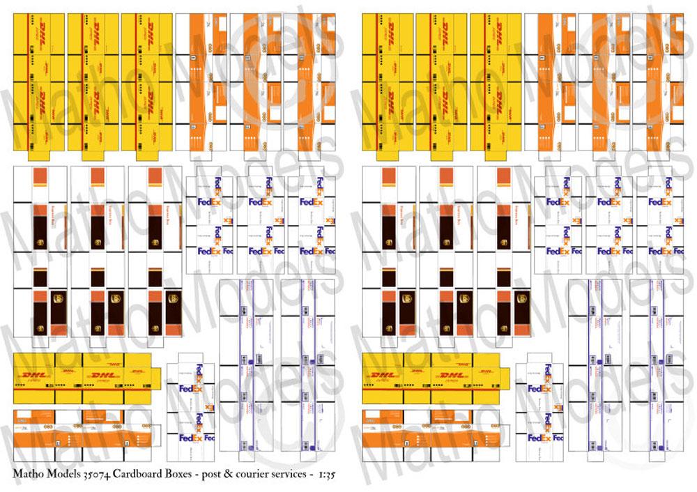 段ボール箱セット (郵便小包 & 宅配便)ペーパークラフト(マソモデルズペーパーアクセサリーNo.35074)商品画像_1