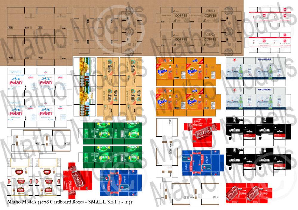 段ボール箱セット スモールセット 1ペーパークラフト(マソモデルズペーパーアクセサリーNo.35076)商品画像_1