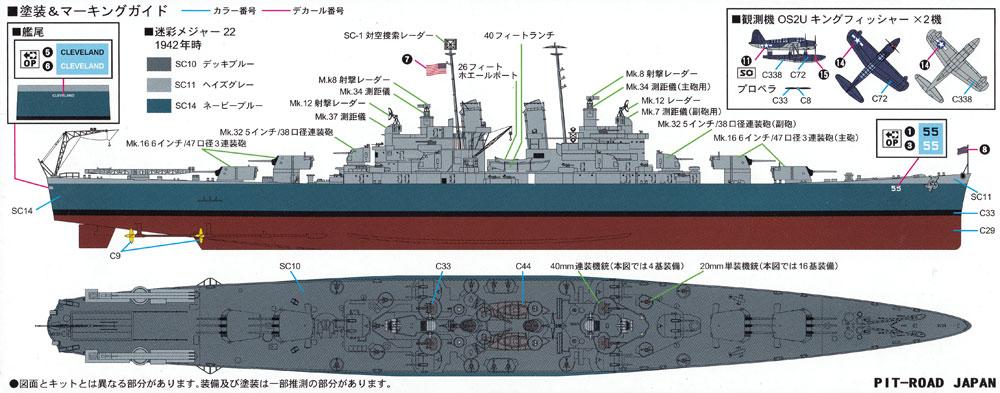 アメリカ海軍 軽巡洋艦 CL-55 クリーブランドプラモデル(ピットロード1/700 スカイウェーブ W シリーズNo.W208)商品画像_1