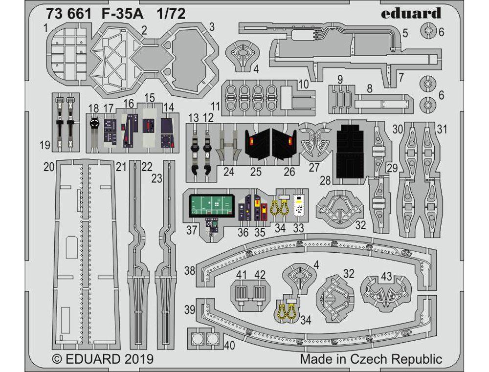 F-35A エッチングパーツ (ハセガワ用)エッチング(エデュアルド1/72 エアクラフト用 カラーエッチング (73-×)No.73661)商品画像_1